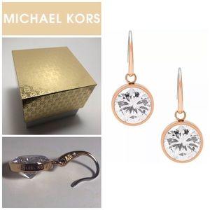 Michael Kors Rose Gold Tone Crystal Drop Earrings